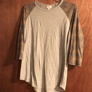 LuLaRoe Randy M grey w/orange & dark grey chevron